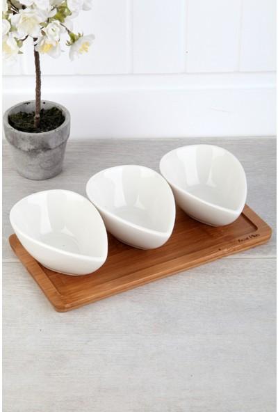 Acar Plus Bambu Tepsili Porselen 3 Lü Sosluk&reçellik