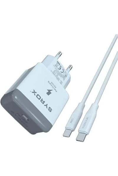 Syrox iPhone 8 Uyumlu Hızlı Şarj Aleti 18W Usb-C Güç Adaptörü