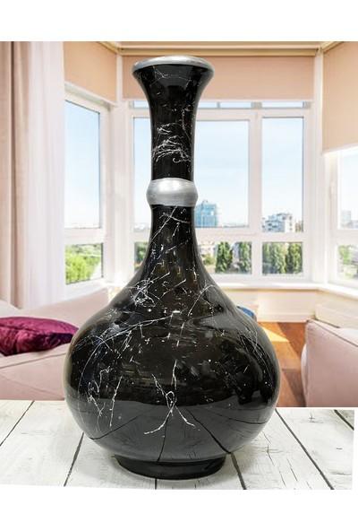 Otogar Çini El Yapımı 3'lü Seramik Konsol Takımı-Siyah Renk Gümüş Yaldızlı-Mermer Dekorlu-Vazo-Ibrik-Küp