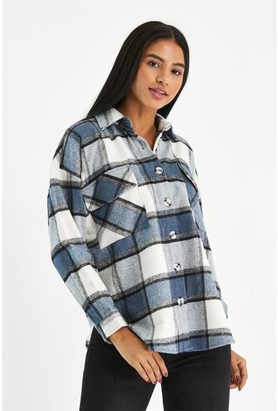 Tarz Cool Kadın Mavi Oversize Oduncu Cep Detaylı Ekose Ceket GÖMLEK-KODG001R03S