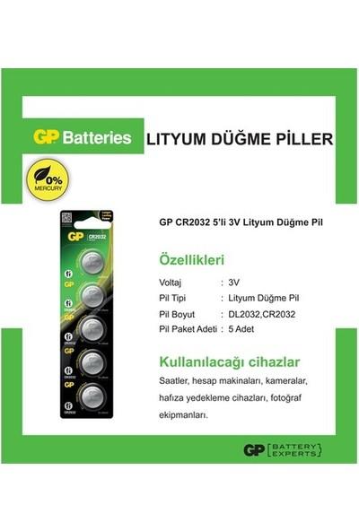 GP 5 Pcs Gp Cr2032 Cr 2032 Lithium Cell Battery 3v 3 Volt Cr2032 Dl2032 Gp 2032 3v Lithium Pili Düğme