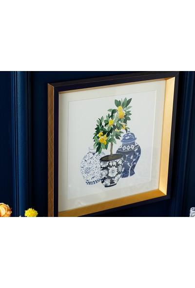 English Home Lemon Tablo 30X30 cm Mavi Beyaz