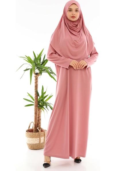 Medipek Kolay Giyilebilen Tek Parça Namaz Elbisesi Gül Kurusu