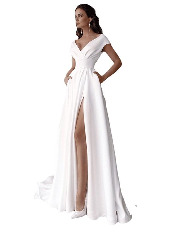 Luiisa Kadın V Yaka Katı Renk Elbise Mopping Uzun Etek (Yurt Dışından)