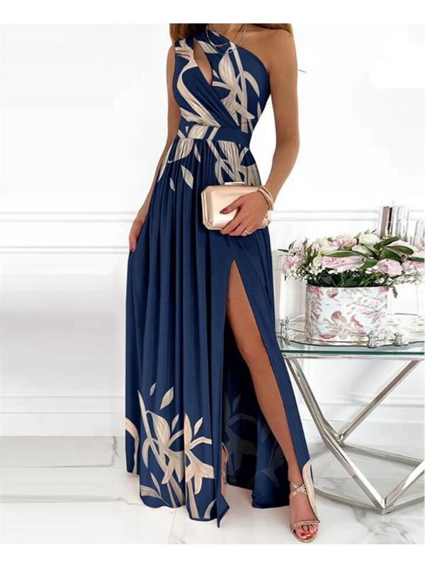 Luiisa Kadın Eğik Omuz Elbise Uzun Etek Kadın Giyim (Yurt Dışından)