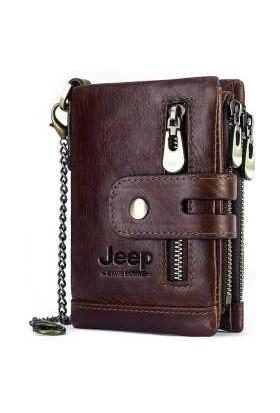 Jeep Erkek Cüzdanı Deri Bozuk Para Kart Bölmeli Zincir Tutuculu Rfıd Özellikli