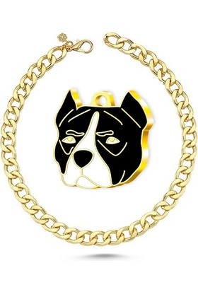 The Passage Altın Kaplama Pitbull Köpek Künyesi Siyah + Kedi Köpek Kolyesi - Gold