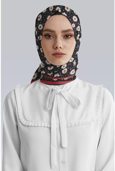 Moda Butik Kadın Siyah Papatya Desenli Saten Eşarp 90X90 DG52