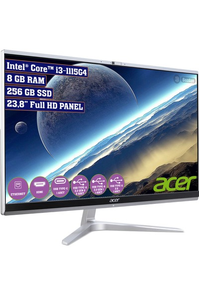 """Acer Aspire C24-1650 Intel Core I3 1115G4 8GB 256GB SSD Freedos 23.8"""" FHD All In One Bilgisayar DQ.BFTEM.001"""