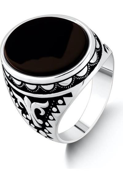 Candie Silver Yanları Desenli Siyah Onix Taşlı 925 Ayar Gümüş Yüzük