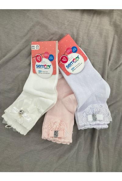 Semoor Çorap ve Tekstil Yelpaze Aksesuarlı Dantelli Çorap 2812-13 (3ADET)