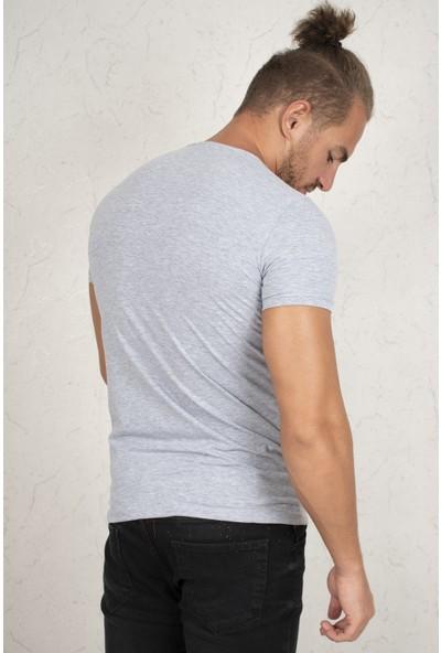 Deepsea V Yakalı Likralı Dar Kesim Erkek Tişört