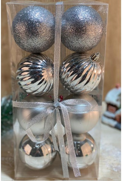 BeySüS Yılbaşı Çam Ağacı Süsü Cici Top 8 cm 8 Li Gümüş