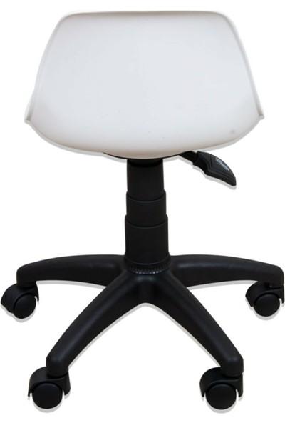 Depo Full Beyaz Çocuk Çalışma Sandalyesi Koltuğu Pembe