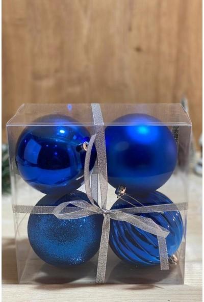 Beysüs Yılbaşı Çam Ağacı Süsü Cici Top 10 cm 4'lü Mavi