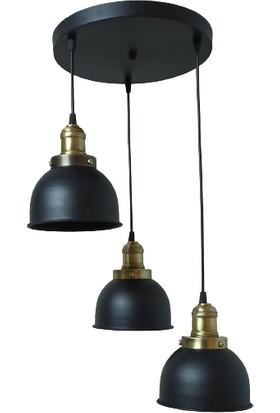 Rys Tasarım Rys Retro Metal Siyah 3 Lü Eskitme Duylu Dekoratif Rustik Sarkıt Avize Çap:30 cm