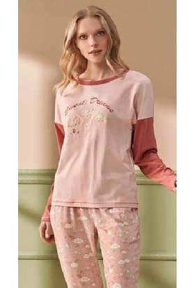 Feyza 4238 Kadın 3'lü Yelekli Pijama Takımı - Pembe