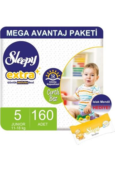 Sleepy Extra Mega Avantaj Paketi Günlük Aktivite Bezi 5 Numara 160 Adet Li 11-18 Kg+Islak Mendil