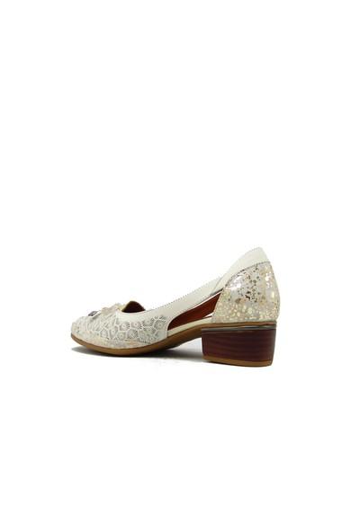 Messimod H4015 Bej Kadın Benekli Fiyonklu Ayakkabı