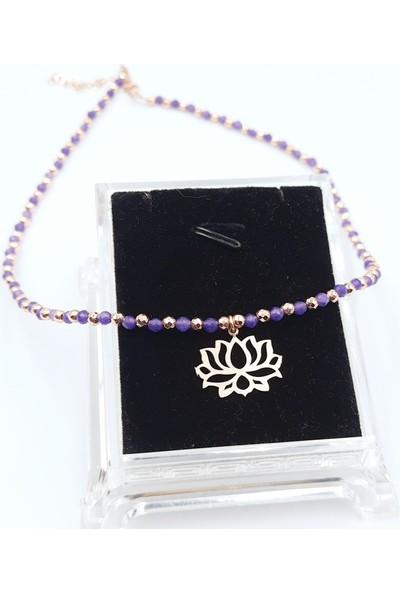 Just4you 925 Ayar Gümüş Lotus Çiçeği ve Mor Kristal Taşlı Hematit Toplu Kolye