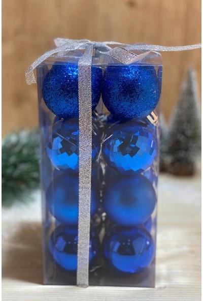 Beysüs Yılbaşı Çam Ağacı Süsü Cici Top 4 cm 16 Lı Mavi