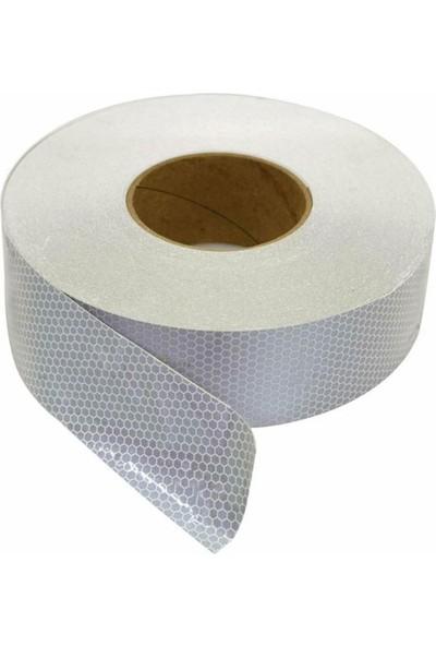 Reflektörlü Reflektif Fosforlu Şerit Bant Ikaz Bandı 5 Metre Beyaz