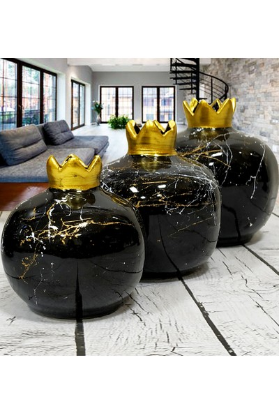 Otogar Çini Seramik 6 Parça Salon Seti- Siyah Renk-Mermer Dekorlu-Gold Yaldızlı