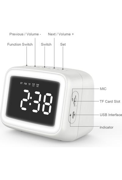 Aec BT511 Mini Bluetooth 5.0 Hoparlör Çalar Saat Radyo (Yurt Dışından)