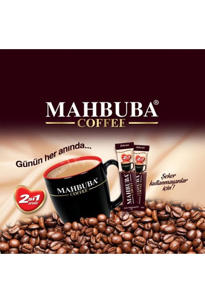 Mahbuba 2si1 Arada Şekersiz Kavanoz Kahve 36x10gr +Renkli Kupa Hediyeli