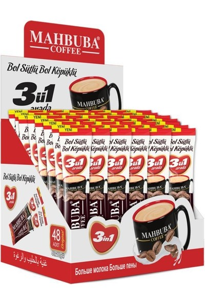 Mahbuba 3ü1 Arada Bol Sütlü Bol Köpüklü Kahve 48x18gr