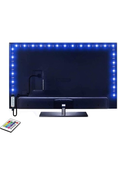 Ema Dükkan Tv Monitör Arkası Kumandalı Rgb Şerit LED 1 Metre Iç ve Dış Mekan Silikonlu LED Işıldak Su Geçirmez