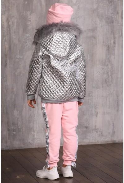 Riccotarz Kız Çocuk Kürklü Parlak Ceketli Pudra Eşofman Takım