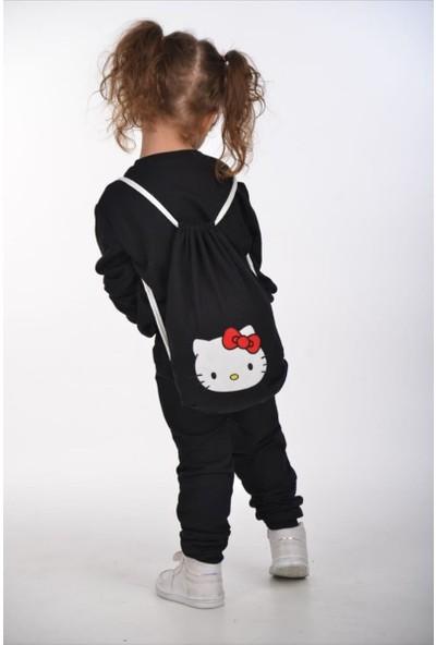 Riccotarz Kız Çocuk Hello Kity Çantalı Siyah Eşofman Takım