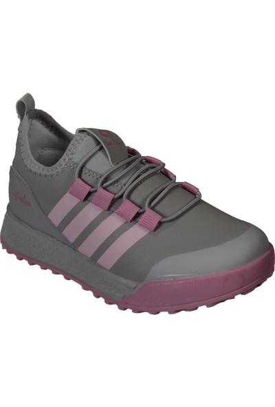Lafonten Yazkış Çocuk Gri Pembe Siyah Cilt Bağcıksız Spor Ayakkabı