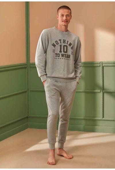 Feyza 4308 Erkek Uzun Kollu Pijama Takımı-Açık Gri
