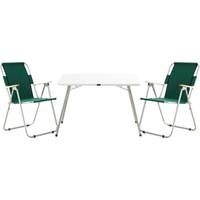 Byeren 2'li Piknik Seti - 2 Adet Kollu Piknik Sandalyesi Yeşil + 1 Adet 60 x 80 Masa Beyaz