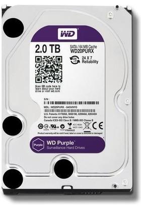 "Wd Purple 2 Tb 3.5"" 5400 Rpm Sata 3 WD20PURX Güvenlik Harddisk"