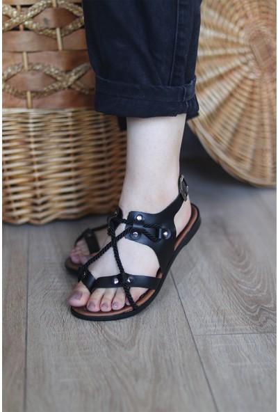 Mugo Serhatlar Kadın Parmqak Arası Örgü Detaylı Sandalet