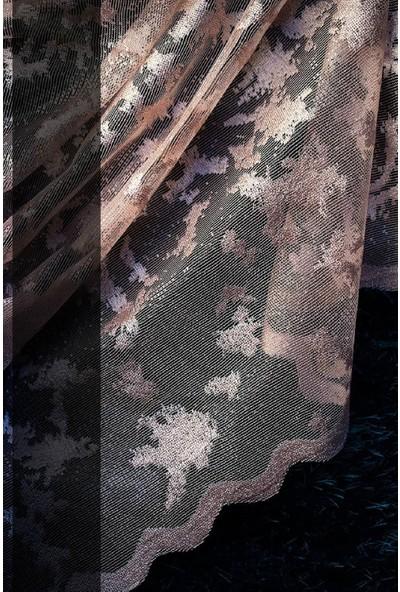 Evdepo Home Zambak Örme Tül Perde Ekstraforlu Pilesiz - Pudra 350 x 200 cm