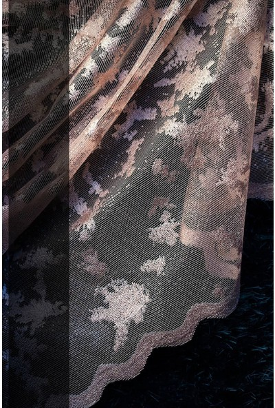 Evdepo Home Zambak Örme Tül Perde 1/2 Seyrek Pile - Pudra 380 x 240 cm