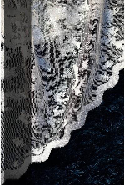 Evdepo Home Zambak Örme Tül Perde 1/2,5 Normal Pile - Ekru 290 x 260 cm