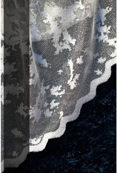 Evdepo Home Zambak Örme Tül Perde 1/3 Sık Pile Pile - Ekru 600 x 260 cm