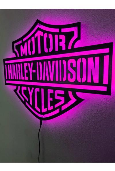 Dekoraven Harley Davidson LED Işıklı Dekoratif Tablo