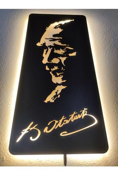 Dekoraven Mustafa Kemal Atatürk LED Işıklı Ahşap Tablo