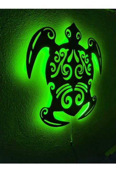 Dekoraven Caretta Caretta Kaplumbağa LED Işıklı Ahşap Tablo