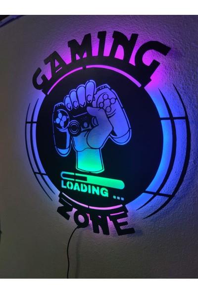 Dekoraven Gaming Zone Gamer LED Işıklı Ahşap Tablo