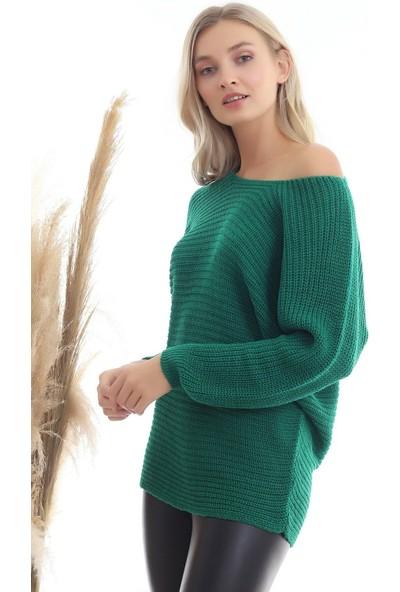 Kasheha Kadın Yeşil Kayık Yaka Yarasa Kol Selanik Örgü Yumuşak Dokulu Salaş Bluz - KAD3325099