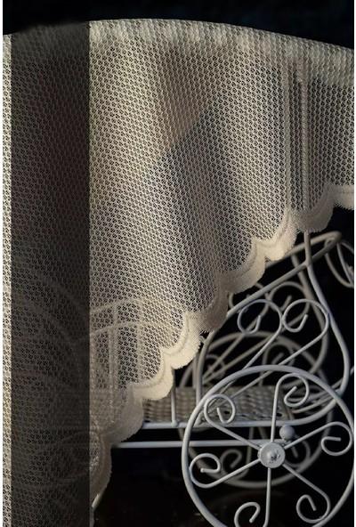 Evdepo Home Nergis Örme Tül Perde 1/3 Sık Pile Pile - Ekru 260 x 270 cm