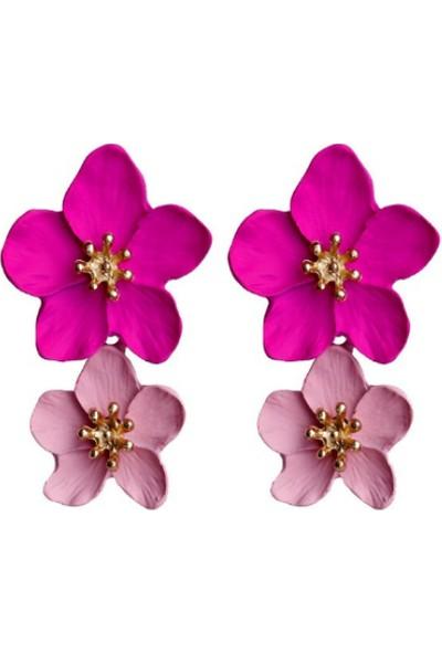 Myfavori Pembe Çiçek Küpe 4 cm