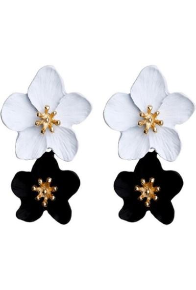 Myfavori Siyah Beyaz Çiçek Küpe 4 cm